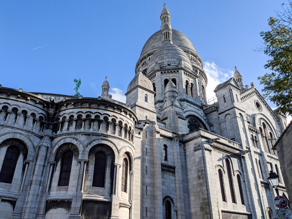 Side view of Sacre Coeur in Montmartre, Paris, France