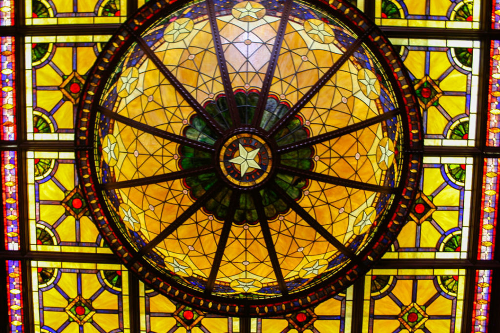 Stained glass ceiling in The Driskill hotel lobby - Austin itinerary
