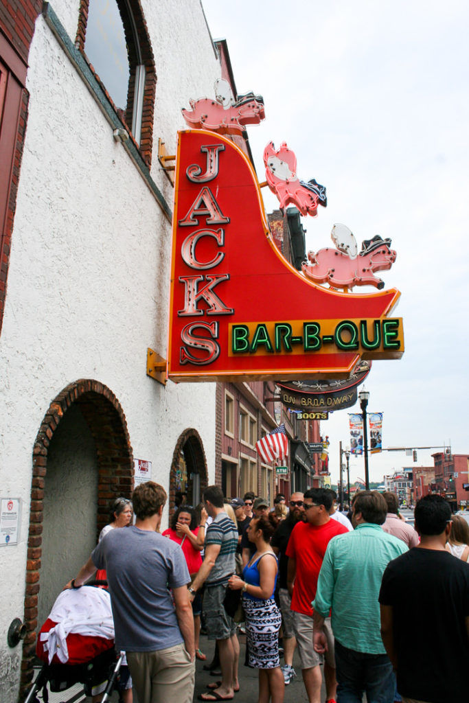 Jack's BBQ downtown Nashville sign and line outside - family-friendly itinerary