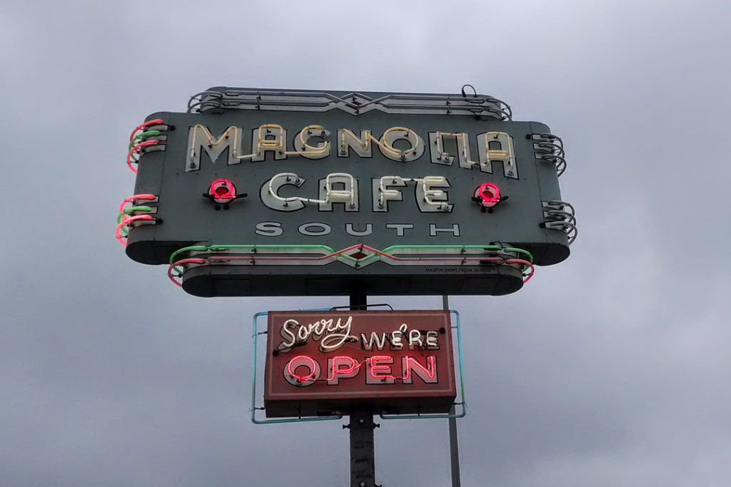 Magnolia Cafe South neon sign breakfast spot