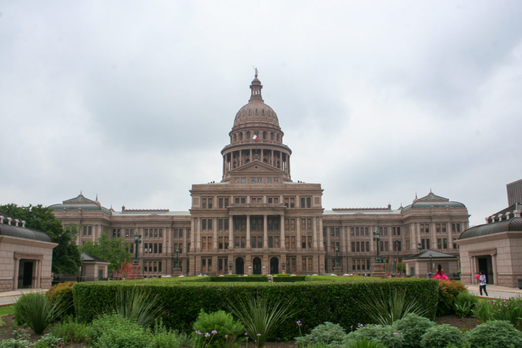Texas State Capitol building on cloudy day