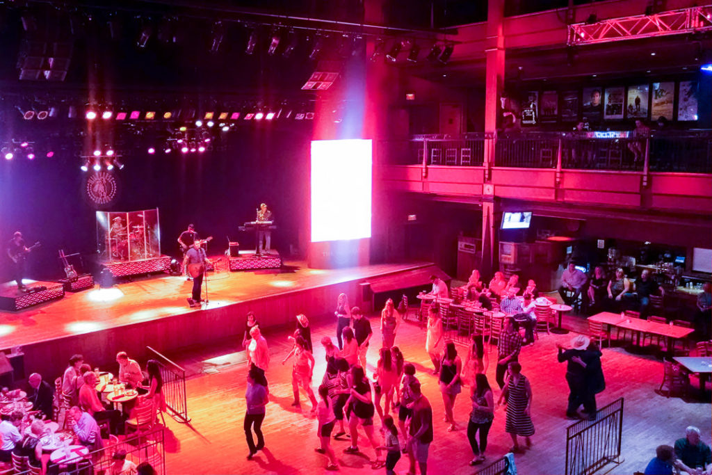 Dance floor at Wildhorse Saloon free line dancing lessons - family-friendly itinerary ideas