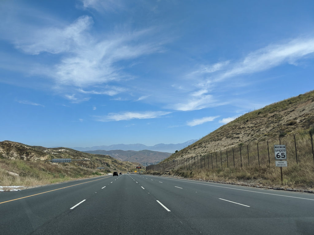 Highway in California mountains