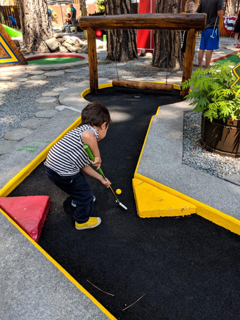 Toddler mini golf - family-friendly itinerary Lake Tahoe summer