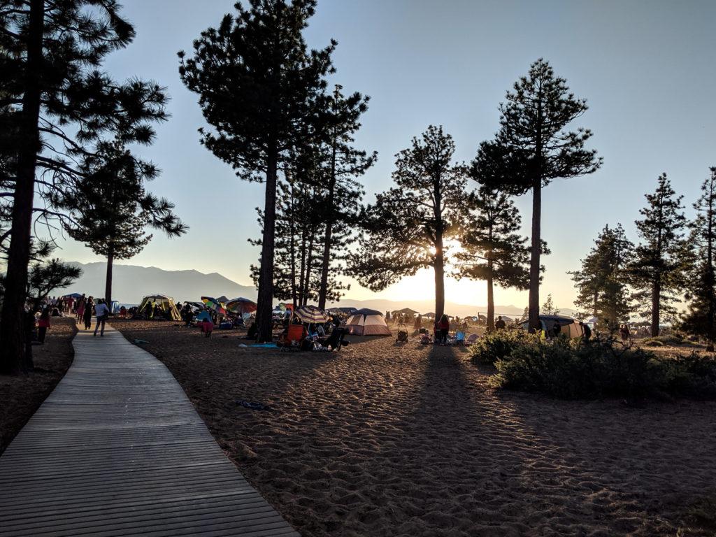 Nevada Beach Campground sunset - family-friendly itinerary Lake Tahoe summer