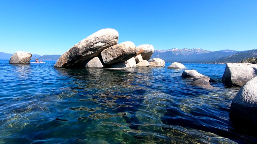Sand Harbor beach clear water, big boulders - family-friendly itinerary Lake Tahoe summer