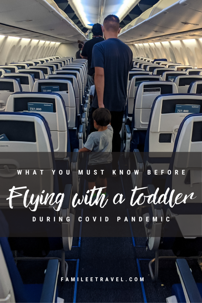 Dad walking toddler off plane - Pinterest pin image for what you must know before flying with a toddler in a pandemic